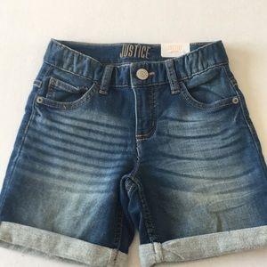 NWT Justice Denim Shorts Girls 10 Mid-Thigh Slim